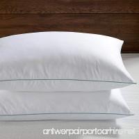 Basic Beyond 600 Fill Power Peach Skin Fabric Standard/Queen Size Triple compartment Feather Down Pillow White Set of 2 - B01KX2KKEA