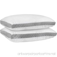 Gusseted Quilted Pillow (King (18 x 36 Inches)  Grey) Pack of 2 - Hypo Allergenic and Easy Care - Premium Quality Pillows With Grey Gusset by Utopia Bedding - B0756XT4GV