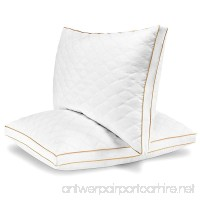 Italian Luxury Quilted Pillow (2-Pack) - Hotel Quality Plush Gel Fiber Filled Pillow with a quilted cover and sateen piping - Hypoallergenic & Dust Mite Resistant - King - B0771TVF7D