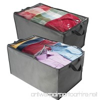 ZOBER Jumbo Storage Bag  Breathable Blanket  Clothes Storage Bag For Comforter  And Quilts  With Clear Viewing Top And Sturdy Zipper For Clothing  Linens  Shoes Etc. Set Of 2  Grey 17.5x29x15.5 - B078J9J13Y