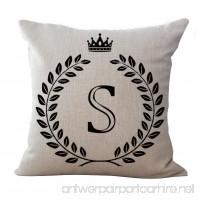 Luxsea Letter Alphabet Printed Cotton Linen Pillowcase Decorative Pillows Cushion Use For Home Sofa Car Office - B07BMXRPM1