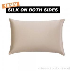 SILKFARMER Natural Silk Pillowcase Hypoallergenic 19 momme 100 Mulberry Silk with Hidden Zipper Standard 20x26 inch Coffee - B0714NB7SL