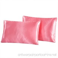 """Vonty Two-Pack Luxury Classic Silky Satin Pillowcases for Hair and Facial Beauty Standard Size 20""""x 26"""" Pink with Envelope Closure - B07DXNX7T6"""