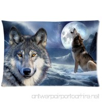 Wild Wolf On Iceberg Custom Zippered Pillow Cases Soft And Confortable 20x30 (Twin Sides) - B01M7Q0O31