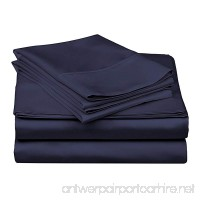 600 Thread Count - Genuine Extra Long Staple (ELS) Premium Combed Cotton Bed Sheet Set [Top / Flat + Deep Pocket Bottom / Fitted + Pillow cases] Cal - California King Solid Navy - B07577L384