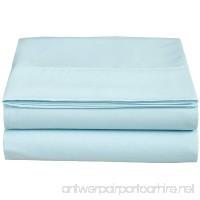 Clara Clark Supreme 1800 Collection Single Flat Sheet  Twin  Light Blue Aqua - B00TU8EEHI