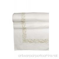 Dea Ramage Embroidery Sateen Flat Sheet King Ivory/Beige - B00ADI9TGK