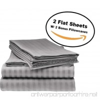 Deluxe 2Pk Flat Bed Sheets - Top Sheet  Soft 1800 Bedding  Highest Quality Brushed Microfiber  Hypoallergenic  Wrinkle  Fade  Stain Resistant - Bonus 2 Free pillowcases - (Queen Size Grey) - B077S1JN9B