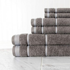 N2 6 Piece Large Grey Rope Trim Bath Towel Set Smokey Gray Stripe Pattern Solid Color Woven Towels Tailored Nautical Luxurious Hotel Style Bathroom Sheets Soft Decorative Bright Vibrant Cotton - B079BG6BWF