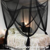 Bedroom Decor Corner Post Bed Canopy King Size 4 Mosquito Net Full Queen Netting Black Bedding - B01KDR43WK