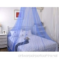 BOW Netting Curtains Mosquito Net for Double Single Bed Canopy With Internal Loop Round Fly Screen (blue) - B07CZ42356