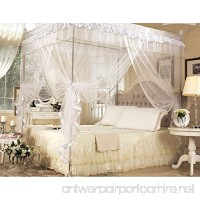 CdyBox 4 Corners Bed Canopy Twin Full Queen King Mosquito Net (Full/Queen White) - B01ESYJ0ZE