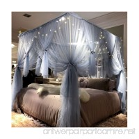 Joyreap Mosquito Bed Canopy Net - Luxury Canopy netting - 4 Corners Post Bed Canopies - Princess Style Bedroom Decoration for Adults &Girls - for Twin/Full/Queen/King (Grey-Blue 59 W x 78 L) - B07CSP1TP9