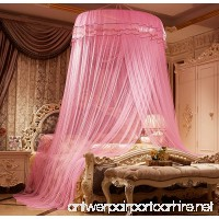 MAGILONA Home Lace Round Princess Bed Canopies Netting Large Size Mosquito Net Bedding or Outdoors Netting Fit Twin Full Queen King Bed One Open Door (Pink) - B078PFLKYW