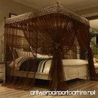 Mengersi Princess 4 Corners Post Bed Canopy Bed curtains Mosquito Netting (Queen Coffee) - B07BKXGQ5F