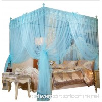 Mengersi Princess Four Corner Post Bed Canopy Mosquito Net (Queen Sky Blue) - B07BLVN8XG