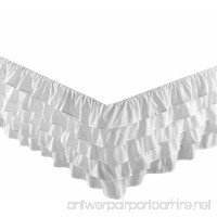 Chezmoi Collection Ella 15 Drop Multi Ruffle Waterfall Bed Skirt (Full White) - B00MMTCML2