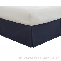 Cotton Sateen Pleated Twin XL Bed-Skirt  Solid Navy  15 inch drop. - B075YSKG4F