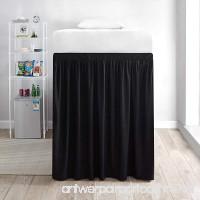 DormCo Extended Bed Skirt Twin XL (3 Panel Set) - Black - B072JCKM3R