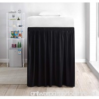 Extended Dorm Sized Bed Skirt Panel with Ties (1 Panel) - Black (For raised or lofted beds) - B07DWL5LQG