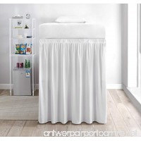 Extended Dorm Sized Bed Skirt Panel with Ties (1 Panel) - White (For raised or lofted beds) - B07DWHLH6N