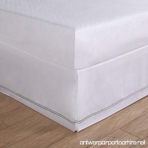 Luxury Hotel Tailored Bed Skirt - Silver Baratta Stitched Hem Silver Queen - B011Y4QJDW