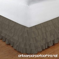 Relaxare King 300TC 100% Egyptian Cotton Taupe Solid 1PCs Multi Ruffle Bedskirt Solid (Drop Length: 13 inches) - Ultra Soft Breathable Premium Fabric - B01F70XWRU