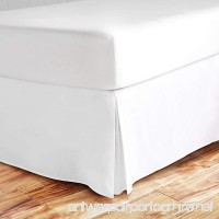 sculpture King Bed Skirt 16 inch Drop 600-Thread Count 100% Long Staple Cotton 1pc Split Corner Bed Skirt King Size 16 inch Drop White With Plates Perfect For All Bed Types - B07BS4BV55
