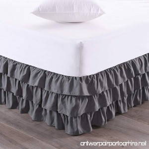 Sweet Home Collection Waterfall Bed Skirt Unique Dust Ruffle Three Tier Layer Design with 14 Drop Queen Gray - B07C32C977