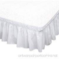 The Paragon Wrap Around Ruffled Bed Skirt Easy Adjustable Bedskirt Stretches to Fit Your Box Springs - White - Queen/King - B0764LPHVL