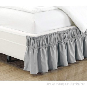 Wrap Around 16 inch fall Three fabric sides GREY Ruffled Elastic Solid Bed Skirt Fits All QUEEN KING and CAL KING size bedding High Thread Count Microfiber Dust Ruffle Silky Soft & Wrinkle Free. - B075FRMQCQ