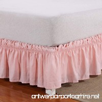 Wrap Around Bed Skirt Elastic Dust Ruffle Easy Fit Wrinkle and Fade Resistant Solid Color Queen Pink - B0797QBPBL