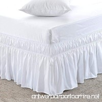 "Wrap Around Bed Skirt Queen Size  White -Three Sides covers of the bed- Easy Fit-Up to 16"" Tailored Drop Elastic Dust Ruffled Bed Skirts - B07FPL8GKJ"