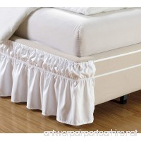 """Wrap Around Style WHITE Ruffled Solid Bed Skirt Fits both QUEEN and KING size bedding 100% soft microfiber fabric allows for Natural Draping  14"""" Fall Covers Legs and Bed Frame - B013GAB2T8"""