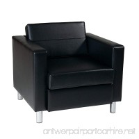 Ave Six Pacific Vinyl Arm Chair with Spring Seats and Silver Metal Legs Black - B004OFQHKO