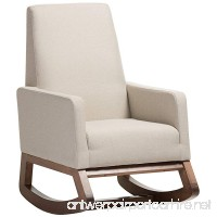 Baxton Studio Yashiya Mid Century Retro Modern Fabric Upholstered Rocking Chair Light Beige - B01AFODPO8