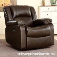 Belleze Faux Leather Rocker and Swivel Glider Recliner Living Room Chair (Brown) - B073HGY5HK