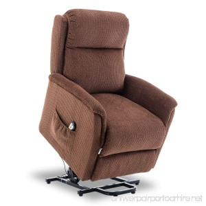 BONZY Lift Recliner Power Lift Chair Soft and Warm Fabric with Remote Control for Gentle Motor - CHOCOLATE - B0789PP1D1