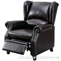 BONZY Traditional Wingback Pushback Recliner Chair Solid Wood Legs Manual Recliners - Dark Brown - B079QSD6QR