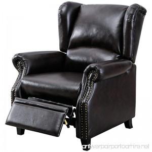 BONZY Traditional Wingback Pushback Recliner Chair Solid Wood Legs Manual Recliners - Dark Brown - B079QSD6QR
