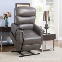 Divano Roma Furniture Classic Plush Bonded Leather Power Lift Recliner Living Room Chair (Grey) - B01M74MQ4H