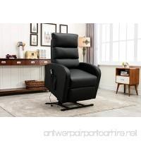 Divano Roma Furniture Classic Plush Bonded Leather Power Lift Recliner Living Room Chair (Black) - B01NBI6Y95