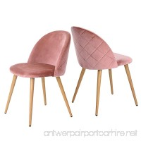 GreenForest Living Room Leisure Chair. Wood Legs Velvet Fabric Cushion Seat Mental Wood Legs Rack Support Low-Back Soft Back for Living Room Chairs Set of 2 Rose - B06XY2WCF5