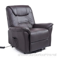 HOMCOM Luxury Faux Leather Three Position Lift Chair Recliner with Remote - Dark Brown - B07DLKTB2S