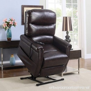 Madison Home Classic Plush Bonded Leather Power Lift Recliner Living Room Chair Brown - B01M8Q5YBX
