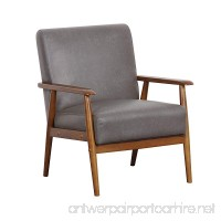 "Pulaski Wood Frame Faux Leather Accent Chair  25"" x 28"" x 31""  Steel Grey - B076WY67BQ"