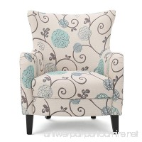 Venette | Ivory and Blue Floral Fabric Club Chair - B01MY2HKFI