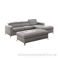 3 Piece Faux Leather Sectional Sofa Set with Oversize Ottoman Right-Facing Chaise (Gray) - B07F3W224F