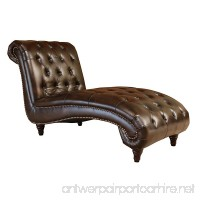 Abbyson® Mirabello Hand Rubbed Leather Chaise Brown - B00OORL1AI