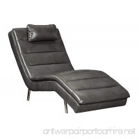 Ashley Furniture Signature Design - Goslar Contemporary Faux Leather Chaise - Gray - B07CRJNLRS